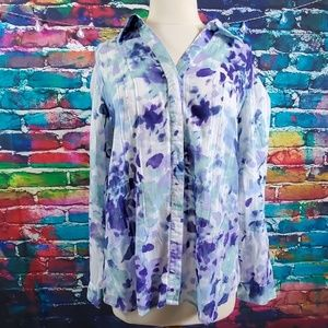 Coldwater Creek Floral Blouse Button Down Size 16